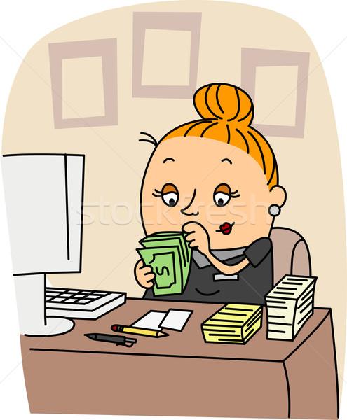 бухгалтер иллюстрация работу деньги женщины карьеру Сток-фото © lenm
