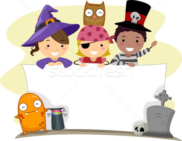 Stockfoto: Halloween · banner · illustratie · kinderen · kind · achtergrond