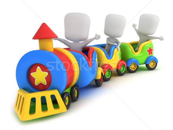 Kinderen trein 3d illustration speelgoed kind leuk Stockfoto © lenm