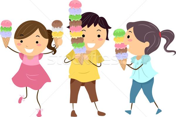 Ijs kinderen illustratie gelukkig opgewonden Stockfoto © lenm