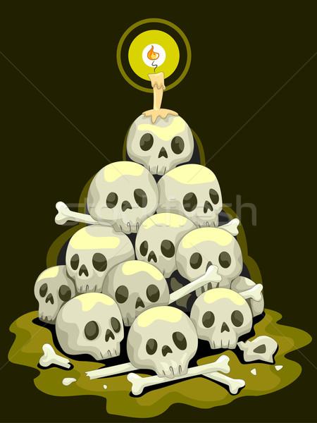 Crânes halloween illustration design noir Photo stock © lenm