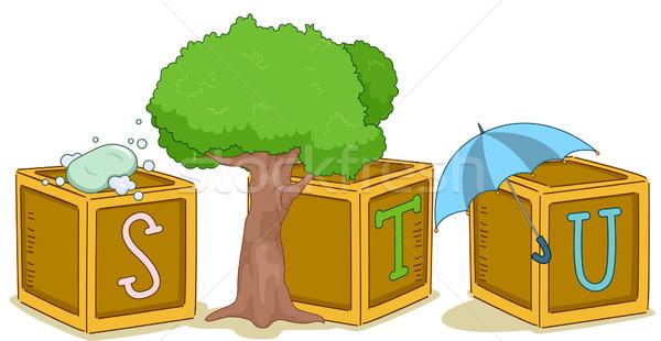 Wood Blocks STU Stock photo © lenm