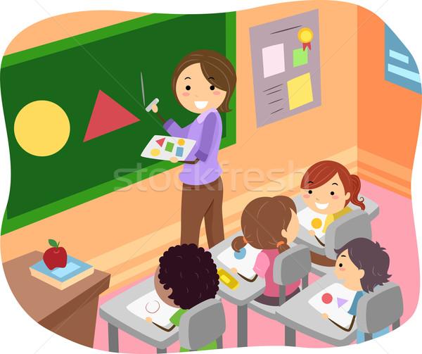 Illusztráció gyerekek tanul formák osztályterem lány Stock fotó © lenm