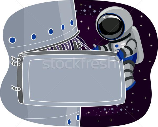 űrhajós űr állomás karbantartás illusztráció csillagok Stock fotó © lenm