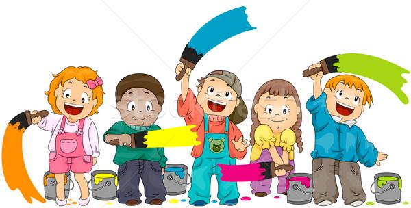 Gyerekek festmény vágási körvonal lányok színek fiúk Stock fotó © lenm