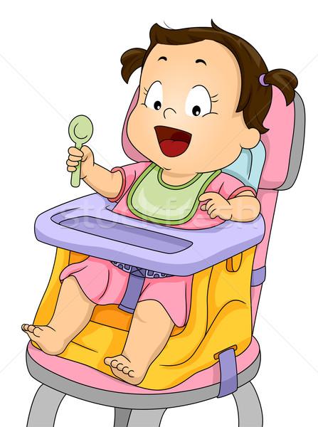 Menina intensificador assento ilustração sorridente bebê Foto stock © lenm