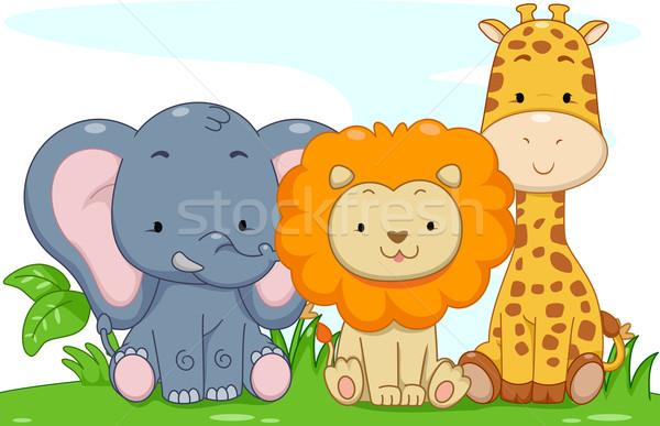 Baby safari dieren illustratie cute jungle dier Stockfoto © lenm