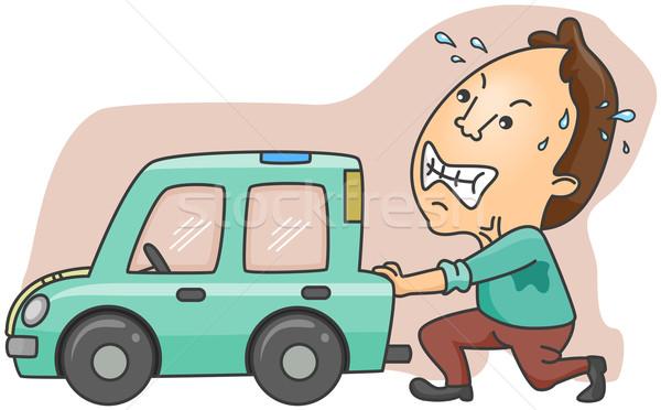 Auto rotta uomo spingendo rotto cartoon Foto d'archivio © lenm