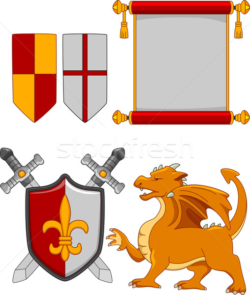 Medieval elementos ilustração diferente projeto arte Foto stock © lenm