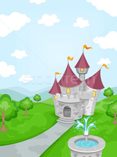 замок фонтан иллюстрация башни фантазий лесу Сток-фото © lenm