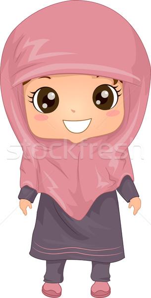 Moslim jurk illustratie vrouw meisje Stockfoto © lenm