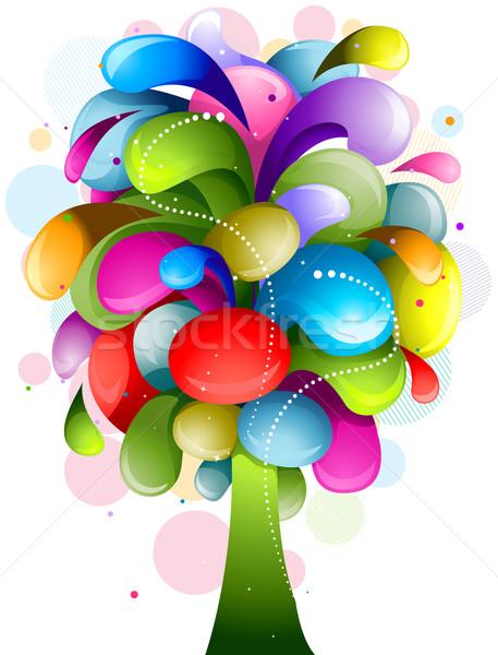 Resumen arco iris árbol blanco diseno wallpaper Foto stock © lenm