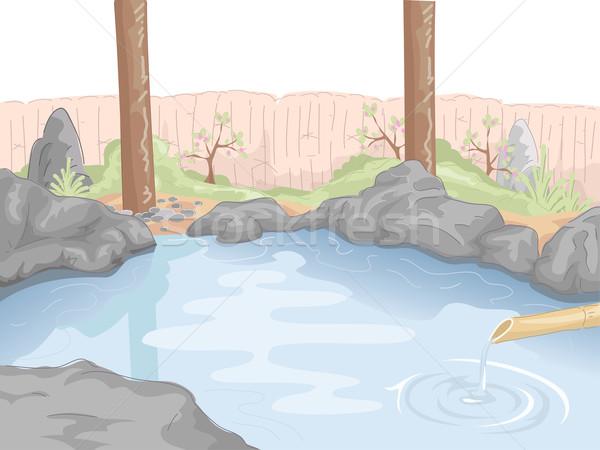 Thermisch bad illustratie water spa bad Stockfoto © lenm