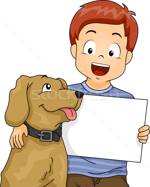 Kid Boy Dog Board Stock photo © lenm
