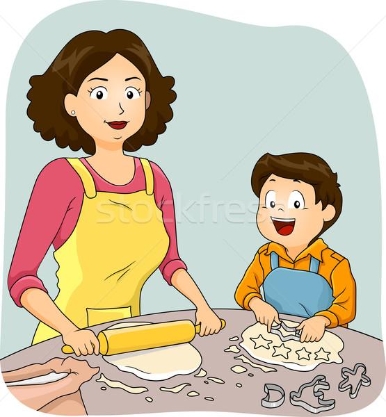 Kid Boy Mom Baking Stock photo © lenm
