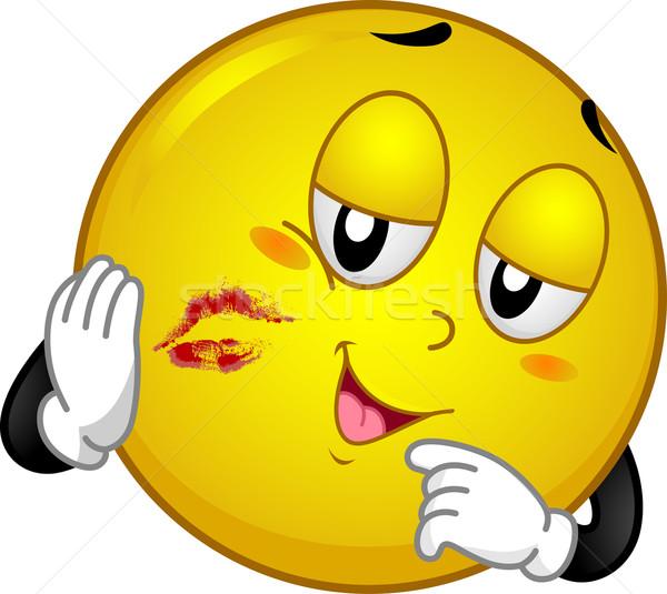 Baiser rouge à lèvres mascotte illustration tache Photo stock © lenm