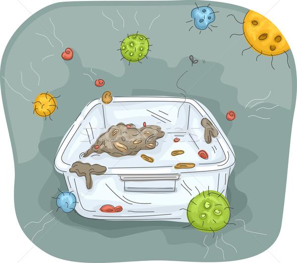 Bacterie voedsel container illustratie smerig plastic Stockfoto © lenm