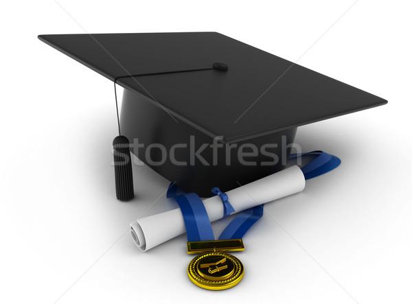 Afstuderen symbolen 3d illustration cap lint diploma Stockfoto © lenm