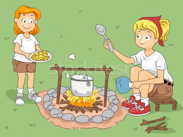 Acampamento cozinhar ilustração criança ajuda líder Foto stock © lenm