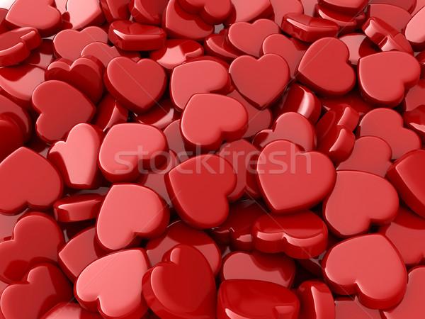 Valentin nap szívek 3d illusztráció egész köteg szeretet Stock fotó © lenm