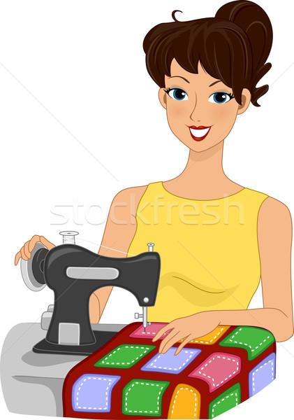 Lány illusztráció készít paplan nő művészet Stock fotó © lenm