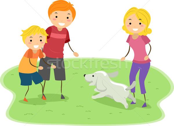 Famille activité illustration jouer chien homme Photo stock © lenm