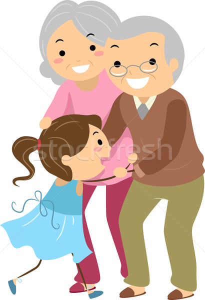 Grand-parent couples petit-enfant illustration femme amour Photo stock © lenm