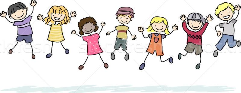 Jumping Stickman Kids Stock photo © lenm