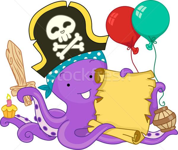 Pirata polpo compleanno illustrazione pergamena Foto d'archivio © lenm