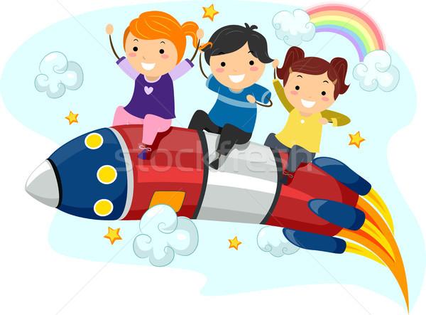 Crianças foguete ilustração pequeno equitação criança Foto stock © lenm