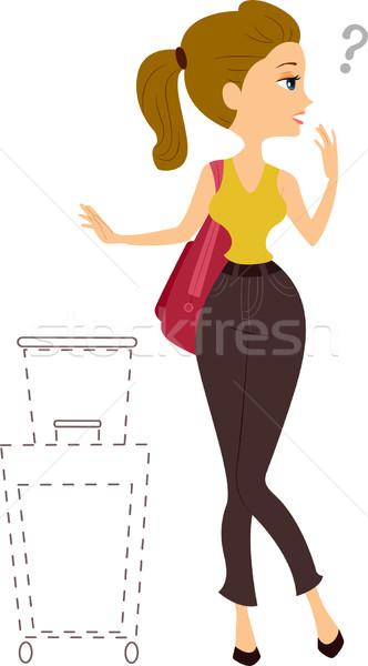 девушки отсутствующий сумку иллюстрация женщину Сток-фото © lenm