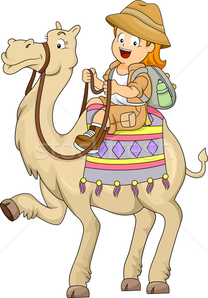 Kicsi gyerek lány lovaglás teve illusztráció Stock fotó © lenm