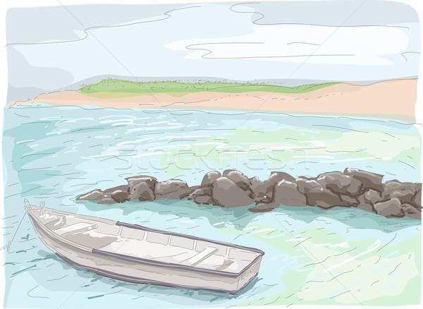 Boat on Seashore Sketch Stock photo © lenm