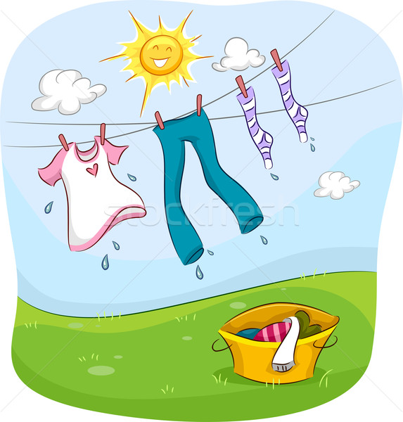 Waslijn illustratie zon glimlachend gelukkig omhoog Stockfoto © lenm