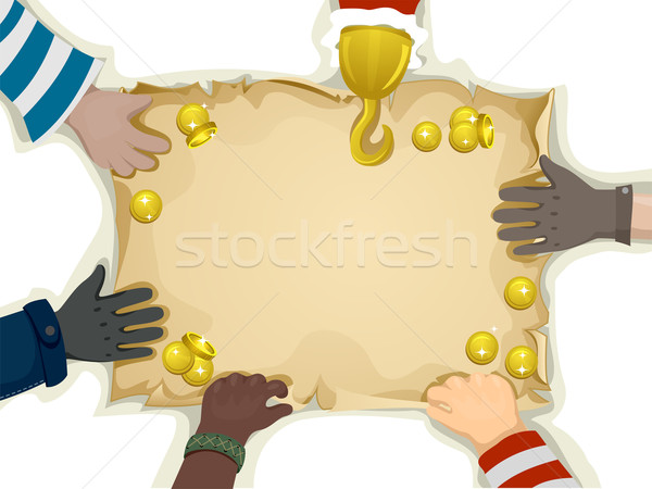 Piratas mapa do tesouro ilustração mãos projeto Foto stock © lenm