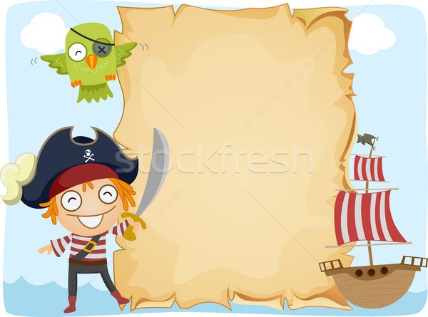 Photo stock: Pirate · papier · illustration · permanent · mer