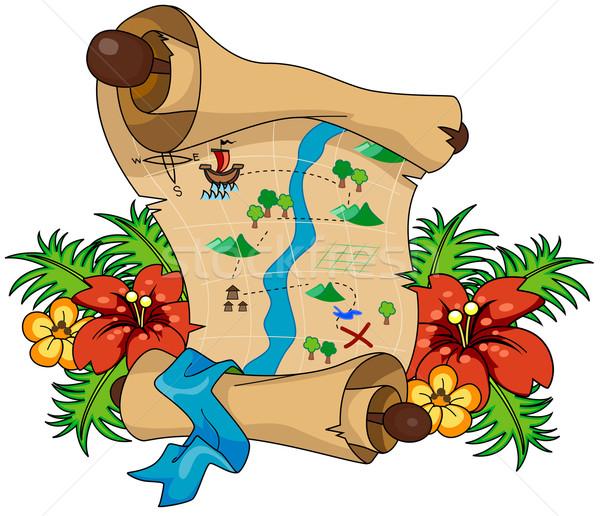 Treasure map papieru zabawy góry rzeki Zdjęcia stock © lenm