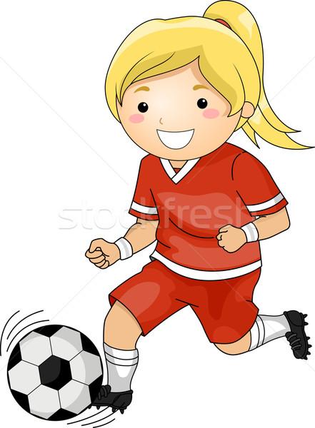 Futball lány illusztráció játszik sportok labda Stock fotó © lenm