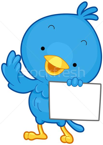 Ptaków wiadomość mały niebieski arkusza papieru Zdjęcia stock © lenm