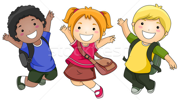 Jumping studenti piccolo gruppo ragazzi felicemente bambini Foto d'archivio © lenm