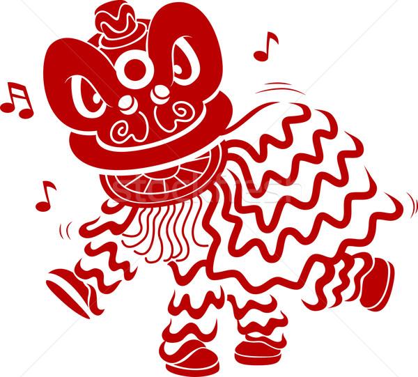 ライオン ダンス ステンシル 実例 男性 衣装 ストックフォト © lenm