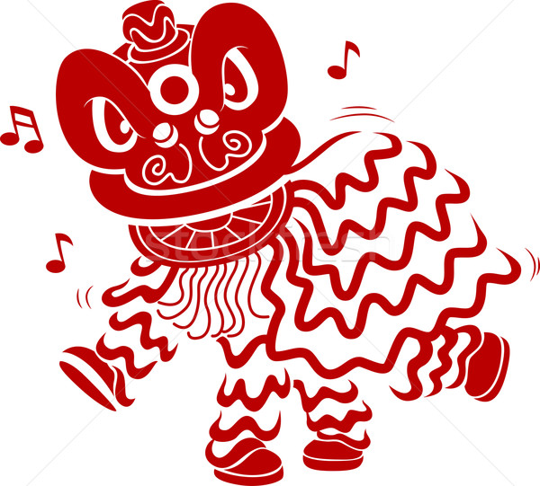 Stock photo: Lion Dance Stencil