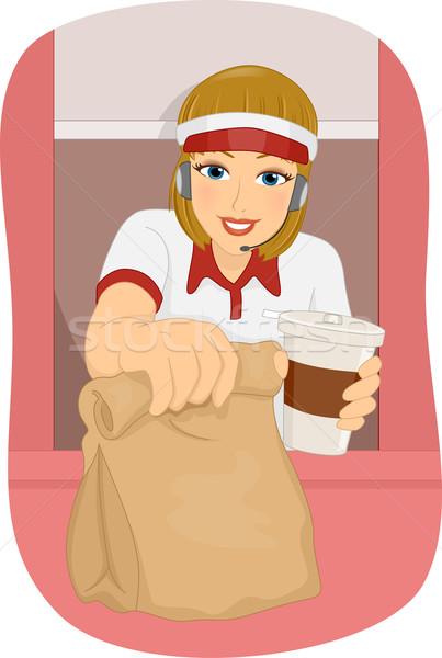 Nina de comida rápida unidad ilustración femenino mujer Foto stock © lenm