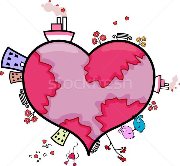 Heart-shaped World Stock photo © lenm