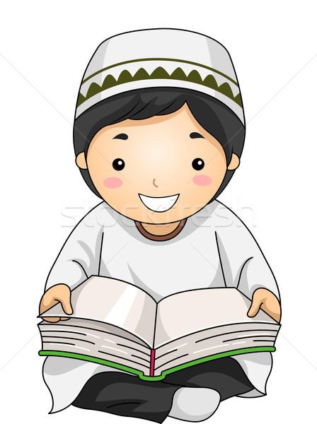 Kid Boy Muslim Read Stock photo © lenm