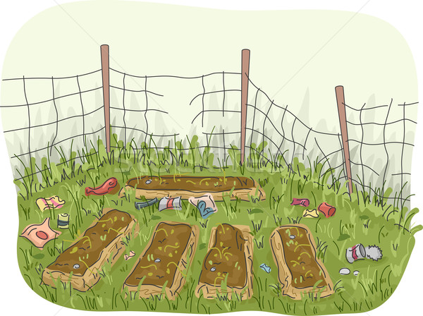 саду заброшенный иллюстрация мусора вокруг Сток-фото © lenm