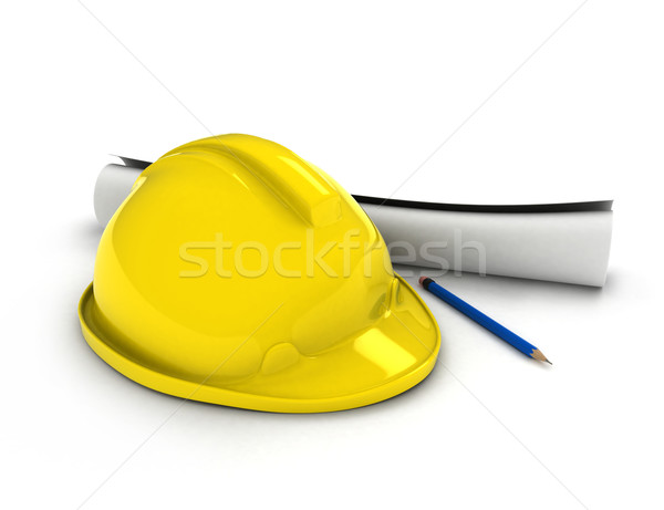 Hard Hat and Blueprint Stock photo © lenm