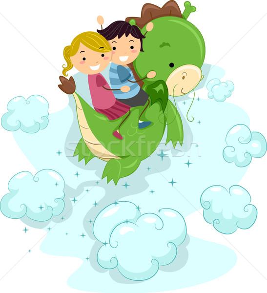 Foto stock: Dragão · ilustração · crianças · equitação · céu · criança