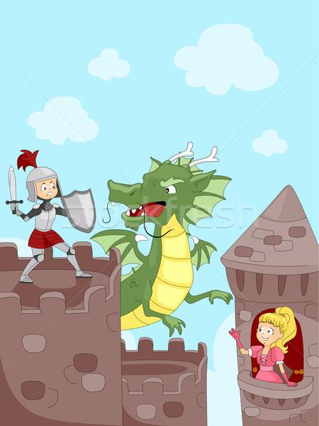 騎士 龍 插圖 孩子們 孩子 商業照片 © lenm