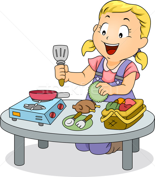 Little Kid Girl Playing with Cooking Toys Stock photo © lenm
